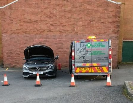 Fuel doctor draining the fuel from Mercedes in Bolton